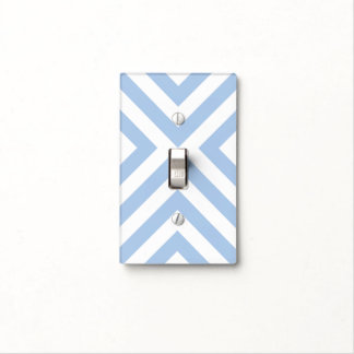 Light Blue and White Chevrons Light Switch Cover