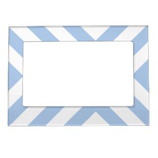 Light Blue and White Chevrons Photo Frame Magnets