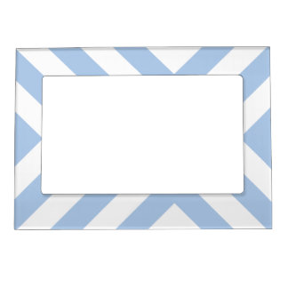 Light Blue and White Chevrons Magnetic Photo Frame