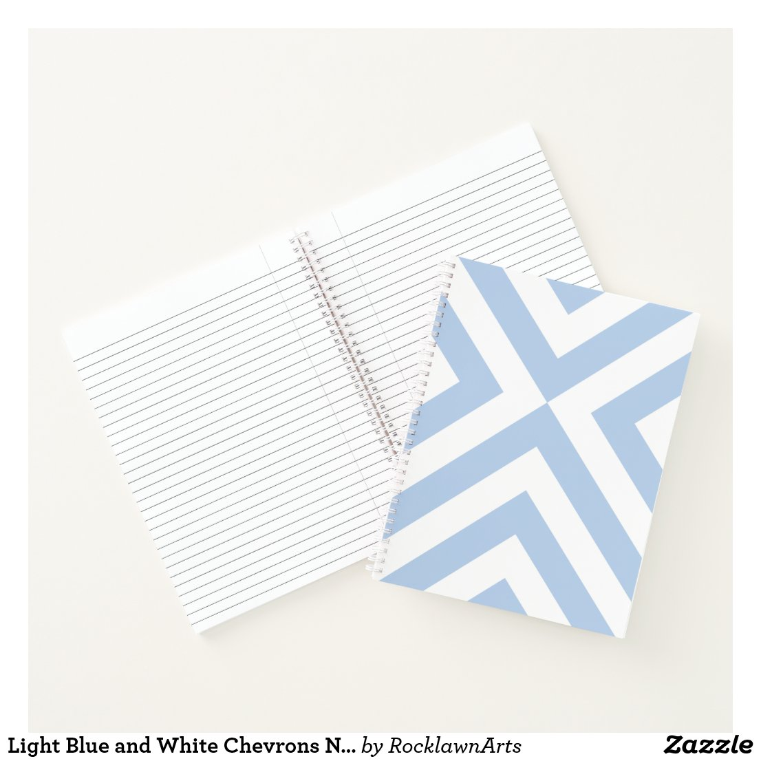 Light Blue and White Chevrons Notebook