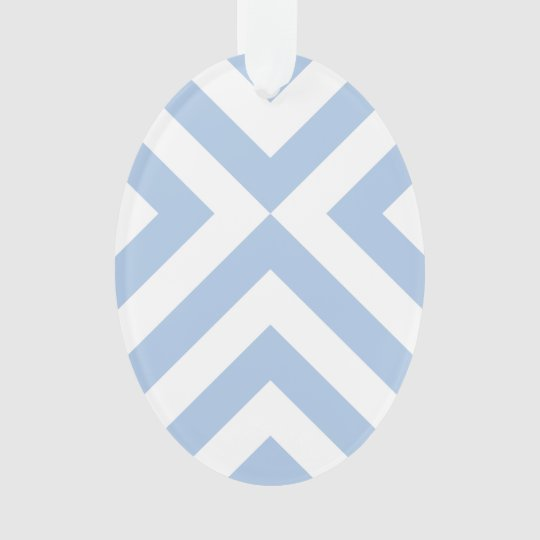 Light Blue and White Chevrons Ornament