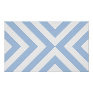 Light Blue and White Chevrons Poster