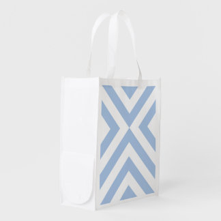Light Blue and White Chevrons Reusable Grocery Bags