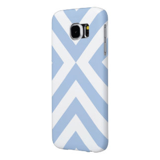 Light Blue and White Chevrons Samsung Galaxy S6 Case