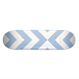 Light Blue and White Chevrons Skateboard Deck