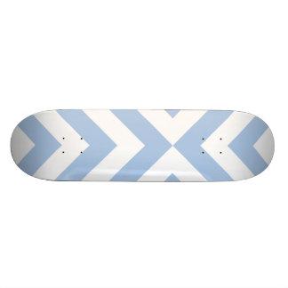 Light Blue and White Chevrons Skateboard Deck