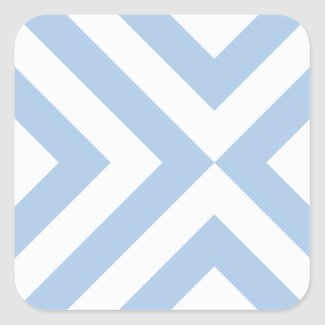 Light Blue and White Chevrons Square Sticker