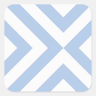 Light Blue and White Chevrons Square Sticker