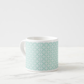 Light Blue and White Circle and Star Pattern Espresso Cup