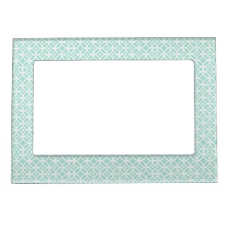 Light Blue and White Circle and Star Pattern Magnetic Frame