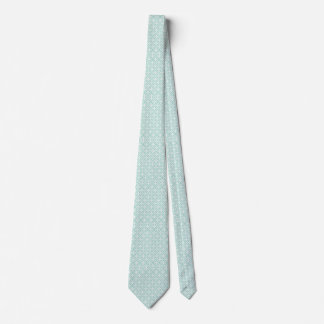 Light Blue and White Circle and Star Pattern Neck Tie