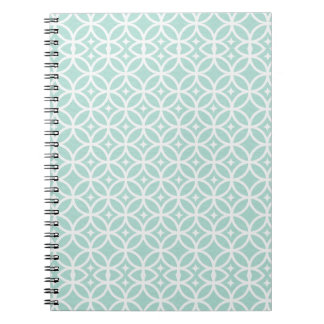 Light Blue and White Circle and Star Pattern Notebook