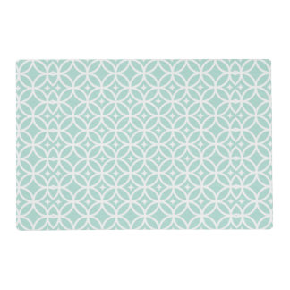 Light Blue and White Circle and Star Pattern Placemat
