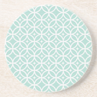 Light Blue and White Circle and Star Pattern Sandstone Coaster