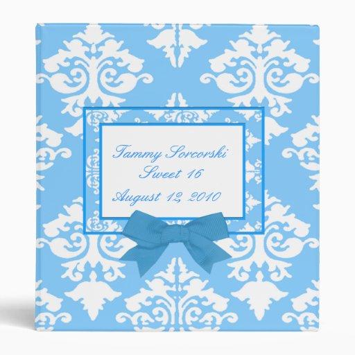 Light blue and white damask Binder