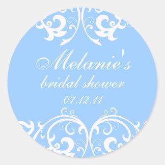 Light Blue and White Damask Bridal Shower Sticker