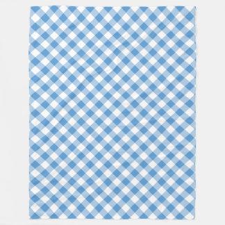 Light Blue and White Diagonal Gingham Plaid Fleece Blanket
