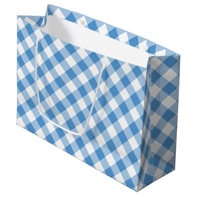 Light Blue and White Diagonal Plaid Gift Bag
