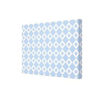 Light Blue and White Diamond Pattern Canvas Prints