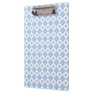 Light Blue and White Diamond Pattern Clipboard