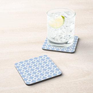 Light Blue and White Diamond Pattern Drink Coaster
