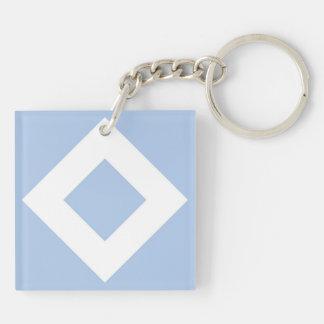 Light Blue and White Diamond Pattern Acrylic Key Chain