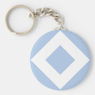 Light Blue and White Diamond Pattern Basic Round Button Keychain