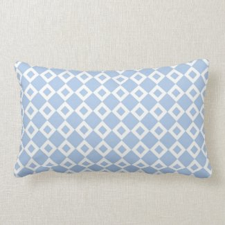 Light Blue and White Diamond Pattern Lumbar Pillow