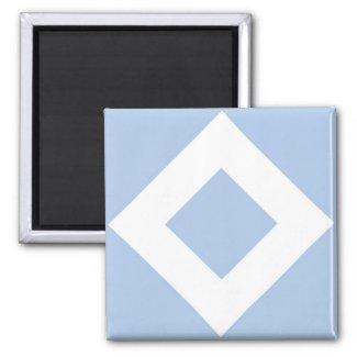 Light Blue and White Diamond Pattern Magnets
