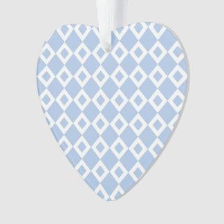 Light Blue and White Diamond Pattern Ornament