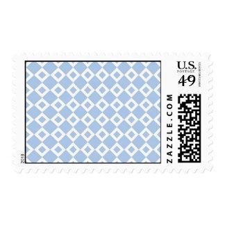 Light Blue and White Diamond Pattern Postage