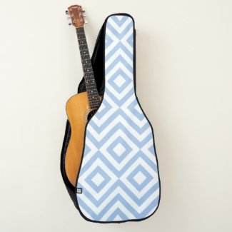 Light Blue and White Diamonds and Zigzags Guitar Case