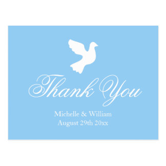 Light blue and white dove wedding thank you cards