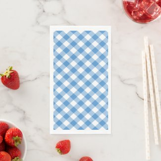 Light Blue and White Gingham Check Paper Guest Towels