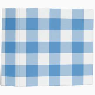 Light Blue and White Gingham Pattern 3 Ring Binder