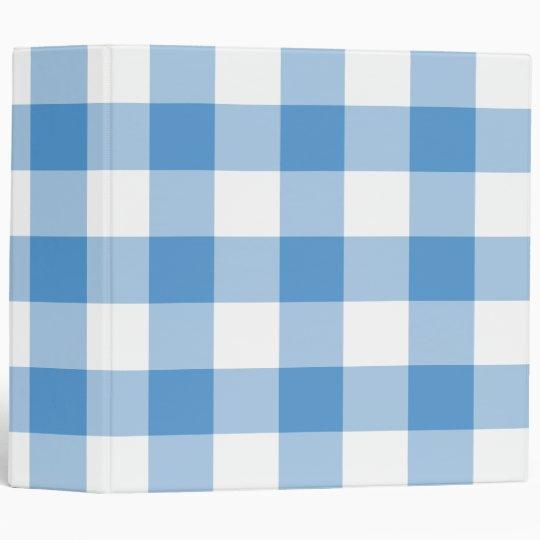 Light Blue and White Gingham Pattern 3 Ring Binder