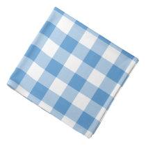 Light Blue and White Gingham Pattern Bandana