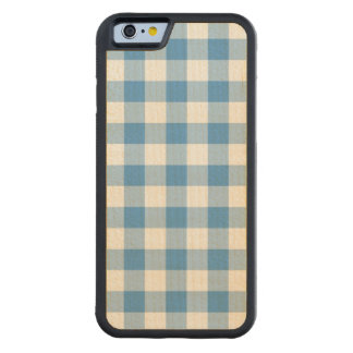 Light Blue and White Gingham Pattern Carved® Maple iPhone 6 Bumper