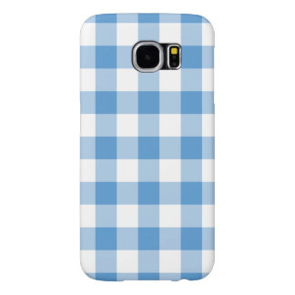 Light Blue and White Gingham Pattern Samsung Galaxy S6 Cases