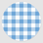Light Blue and White Gingham Pattern Classic Round Sticker