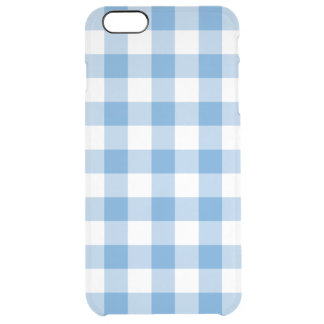 Light Blue and White Gingham Pattern Clear iPhone 6 Plus Case