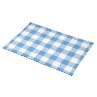 Light Blue and White Gingham Pattern Cloth Placemat