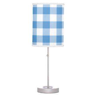 Light Blue and White Gingham Pattern Desk Lamp