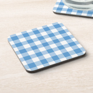 Light Blue and White Gingham Pattern Drink Coaster