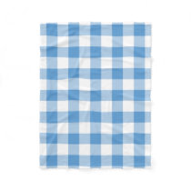 Light Blue and White Gingham Pattern Fleece Blanket