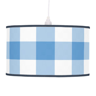 Light Blue and White Gingham Pattern Hanging Lamp