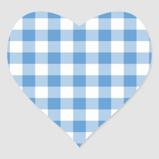 Light Blue and White Gingham Pattern Heart Sticker
