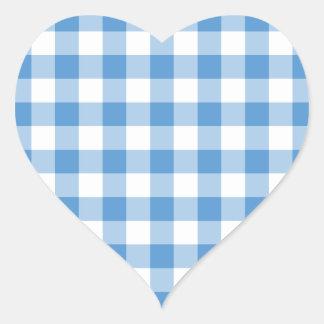 Light Blue and White Gingham Pattern Heart Sticker