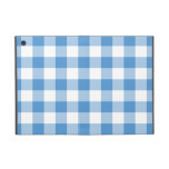 Light Blue and White Gingham Pattern Cover For iPad Mini