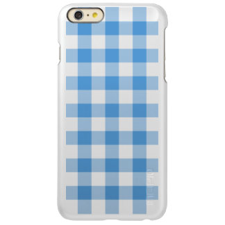 Light Blue and White Gingham Pattern Incipio Feather® Shine iPhone 6 Plus Case